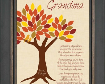Personalized Grandma Gift - Grandmother Custom Gift - Mother's Day Gift - Special Grandma Print - Birthday Gift -Can be made in other colors