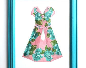 Hanky Dress - Aqua and Pink Wall Decor