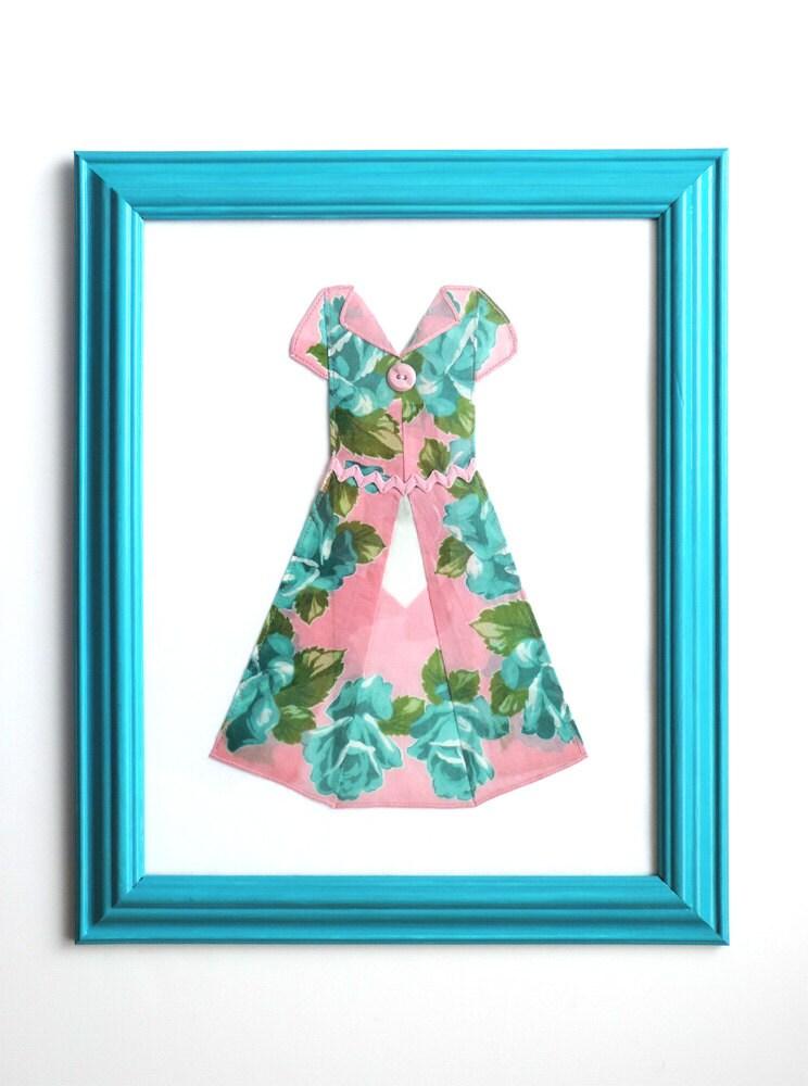 Hanky Dress Aqua And Pink Wall Decor By Hankydresses On Etsy