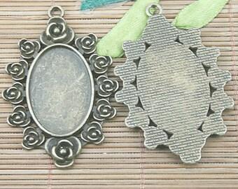 3pcs antiqued bronze color  floral rim  oval cabochon setting in 30x20mm EF3118