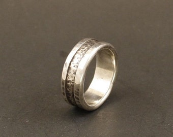 Mans Wedding Band Organic Wedding Band Rustic Wedding Ring Mens Wedding Band Silver   Handmade Jewelry Metalwork Ring
