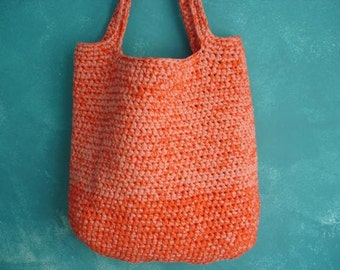 Bright crochet tote large orange salmon