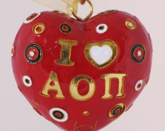 Alpha Omicron Pi Polka Dot Heart Cloisonne Ornament with 24k gold plating