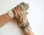 Sale Hand Knit Fingerless Gloves for Women,Texting Gloves, Ladies Cabled Gloves, Braided Wristwarmers,Clickclackknits