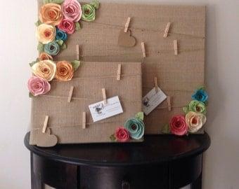 Cork Board Message Board Note Board Burlap Shabby Chic
