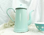Vintage French Pale Mint Green Enamelware Cafetière / Coffee Pot / French Decor / Country Decor
