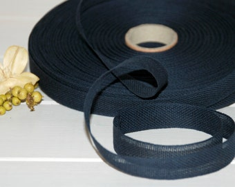 "Indigo Cotton Ribbon - 3 or 6 Yards of 100% Cotton Ribbon - 1/2"" wide - Dark Blue Ribbon - Buy More and Save - Eco Friendly Cotton Ribbons"