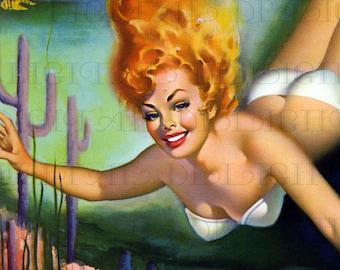 Like a Mermaid! Vintage Digital Illustration. Digital Printable Image Download. Mid Century Pinup Digital Print.