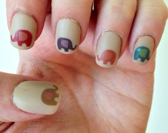 Patterned Elephant Nail Decals