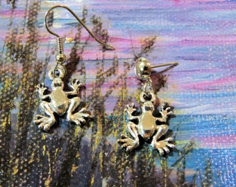 INVENTORY REDUCTION SALE Frog earrings.    Double sided frog charms on your choice of surgical steel wires or posts.