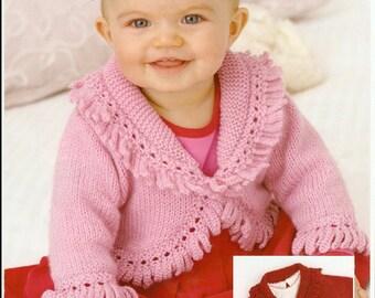 knitting pattern forbaby  stunning   fancy edged bloreo birth to 6 years dk yarn