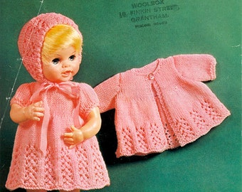 baby doll knitting pattern for dress jacket booties bonnet for 14 / 16 inch doll