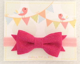 Ready To Ship - Glitter Pink/Pink Bow Headband