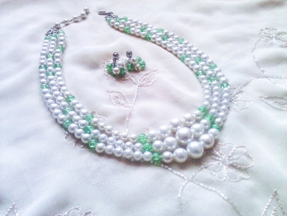 Vintage White Pearl and Green Crackle Glass 3 Strand Necklace & Earring Set