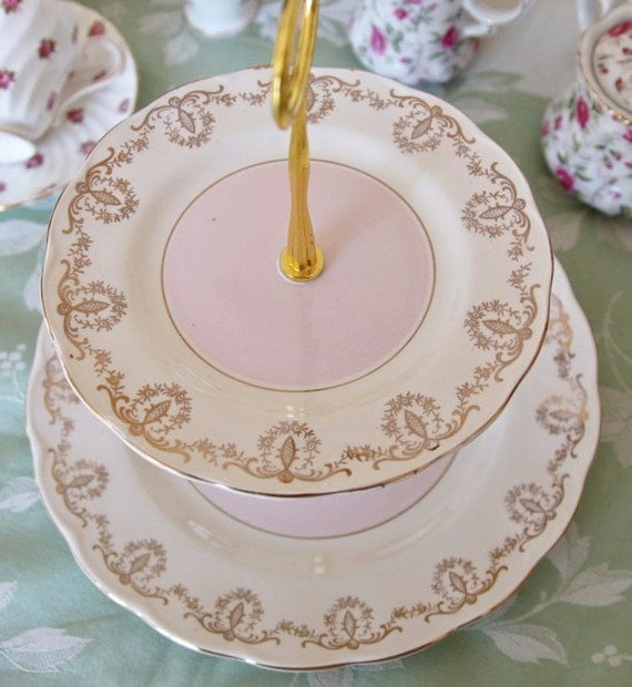 Pretty pink and cream 2 tier cake stand cupcake stand ideal for Pretty cake stands
