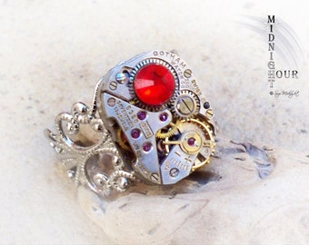 Steampunk Ring Silver tone Adjustable Ring with Square Gotham watch movement and Swarovski Crystal No.59
