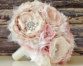 Fabric Flower Wedding Bouquet, Brooch Bouquet,  Fabric Bridal Bouquet, Weddings, Custom Colors, Vintage Wedding