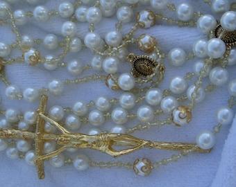Elegant Pearl and Gold Swarowski Cyrystal Wedding Lazo/Lasso(NO Shipping 6/1-6/8)