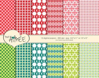 "Allover Ethnic Digital Scrapbook Paper, Bright Red, Pink, teal and Lime, 8.5""x11"" or 12""x12"" Printable Paper - Group 50"