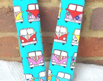 2 Turquoise Mint Green VW Kombi Design Car Seat Belt Covers - Car Strap Covers - Car Accessories - Seat Belt Pads - Campervan Design - Kombi