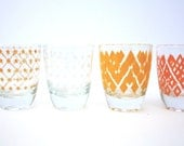 French Retro Tot Glasses 4 Geometric Red Orange Yellow Mid Century Vintage Retro Fab Collectable Gift Good Condition