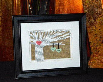 Personalized Wedding Gift, Anniversary, Paper Anniversary - Wedding Song Lyrics 3D Paper Tree - 8x10 Frame Optional