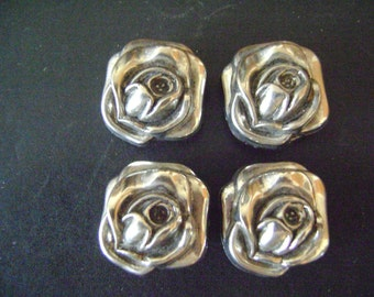 Vintage Silver tone Rose Button Covers