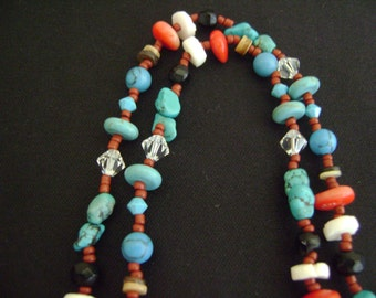 Long Hippie Style Turquoise, Coral and Etc Necklace