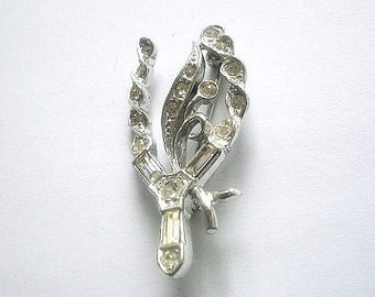 On Sale Clear Rhinestone Brooch Silver Tone Numbered