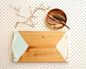 Rope Handled Serving Board, Hand Painted Geometric Triangles, Duck Egg Blue and White, Cyprus Wood, Eco Gift, Upcycled Wedding Kitchen gift