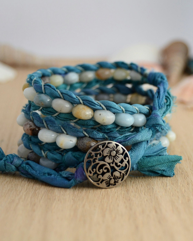 turquoise sari silk bracelet rustic beaded wrap. Black Bedroom Furniture Sets. Home Design Ideas