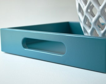 Teal 12 x 12 Lacquered Serving Tray - Wood Ottoman Tray - Decorative Coffee Table Tray