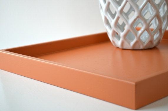 Pumpkin orange 14 x 18 shallow wood decorative tray orange for Shallow coffee table