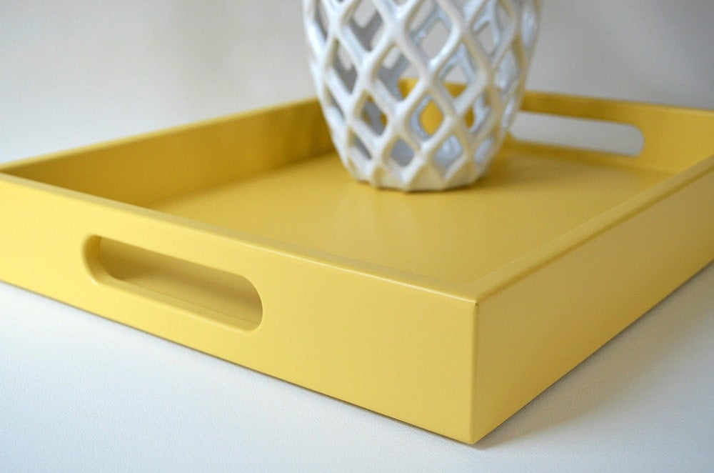 Golden Yellow Lacquer 14 x 18 Serving Tray, Coffee Table Tray, Yellow Home Decor, Ottoman Tray