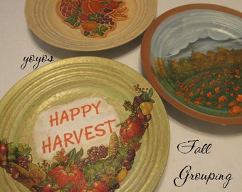 HANDPAINTED DECOUPAGE PLATE Trio Cornucopia Harvest Pumpkins Home Holiday Décor