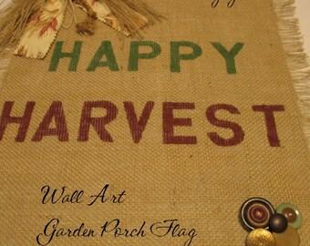 HAPPY HARVEST BURLAP Mini Wall Art Garden Flag Home Porch Décor