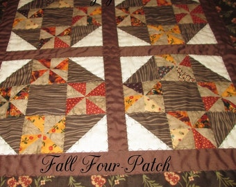 FALL FOUR-PATCH Mini Quilt Browns Home Décor Table Mat Wall Hanging