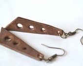 HIPPIE SHAKE. Brown leather triangle earrings with antique bronze hook. Ready to ship