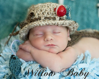 Crochet Fisherman Hat and Fish Set-Photo Prop-Newborn