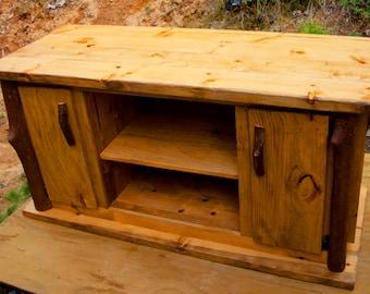 Rustic Pine TV Media Entertainment Center Log Cabin Adirondack Furniture by J. Wade, golden