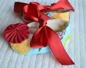 Newborn/ baby girl booties/ shoes- Teal and red apple print girl booties- size 3-9 mos