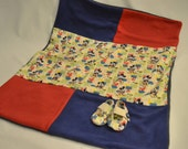 Infant boys baby blanket/ bootie/ shoe gift set/ baby boy gift set- Mickey Mouse theme/ vintage Mickey Mouse