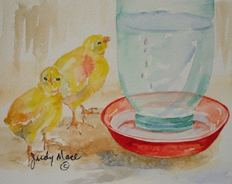 baby chicks watercolor greeting card handpainted small format