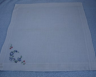 Blue flower and bow embroidered vintage hankie