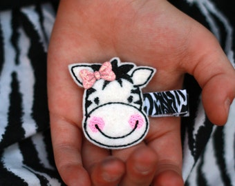 Zebra Hair Clip, Felty Embroidered Appliqué, Toddler Girls Hair Accessory - Zebra with Glitter Bow, Clippies