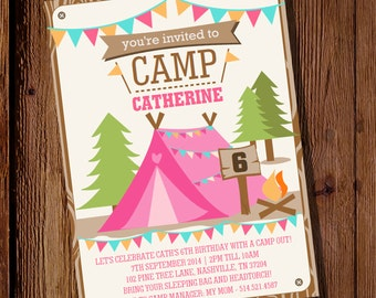 Camping Tent Party Invitation for a Girl - Camp Out  - Glamping Editable - Instant Download - Editable File - Personalize with Adobe Reader