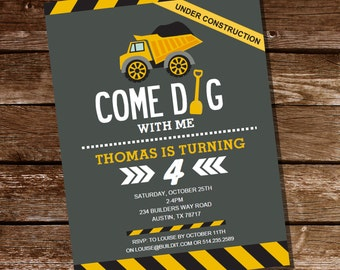Come Dig with Me Construction Party Invitation - Instantly Downloadable and Editable File - Personalize and Print at home with Adobe Reader