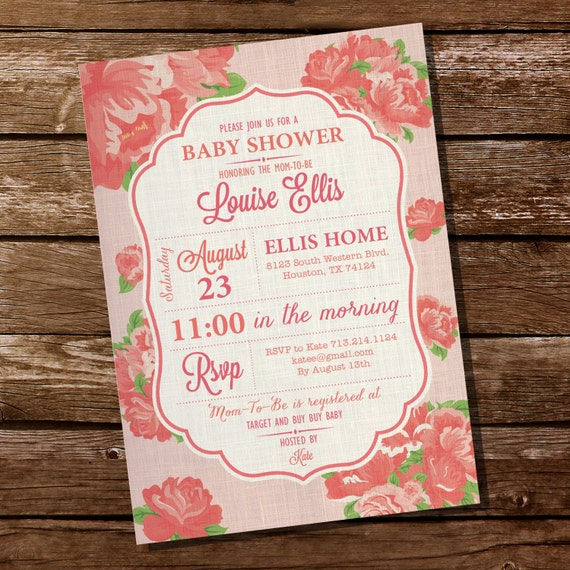 vintage shabby chic baby shower invitation for a girl instant