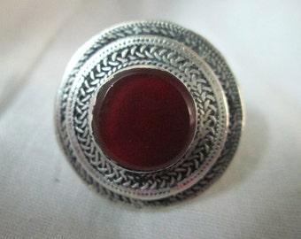 SALE -Stunning Chunky handmade Vintage Afghan Kuchi Tribe Carnelian round  Ring,Turkmen Jewellary,Gothic J40