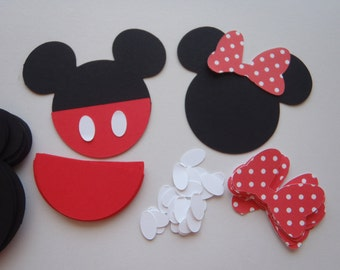 12 DIY Cupcake Toppers Mouse Theme party Red or Pink Bow by FeistyFarmersWife